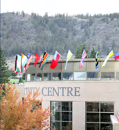 Perched atop the Campus Activity are flags from the more more than 70 countries represented at TRU this Fall.  This semester there are 1,460 International students — the most ever — and accounting for a 2 % increase in student enrolments.
