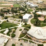 Aerial photography of the campus, looking west at the Campus Commons. Mastermind Studios, August 2014.