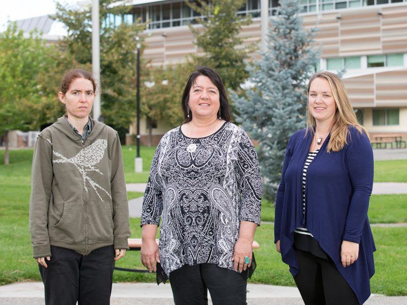 Introducing TRU's newest Tier 2 Canada Research Chairs, from left, Dr. Yana Nec, CRC in Applied Mathematics and Optimization, Dr. Shelly Johnson, CRC in Indigenizing Higher Education, and Dr. Heather Price, CRC in Culture and Communities: Children and the Law.