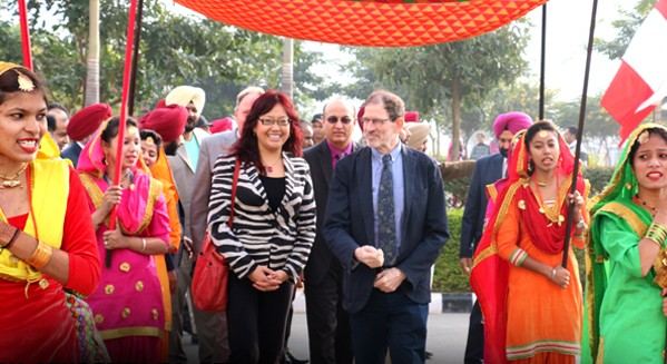 Chandigarh University held an entrance parade for the TRU delegation.