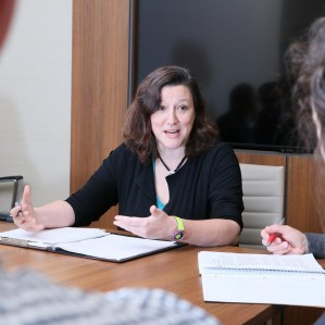 Sharon Sutherland, a mediator and conflict resolution trainer, in a mock mediation with law students.