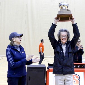 TRU President and Vice-Chancellor Alan Shaver hoists the President's Cup on Feb. 20, 2016.
