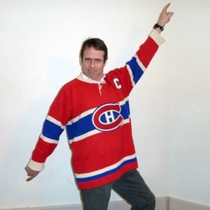 Environmental Programs and Research Coordinator, James Gordon, shows off his hockey sweater in preparation for the big hockey sweater contest.