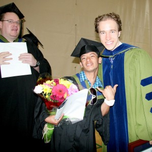 Craig Kielburger (right) with Education and Skills Training students during a Convocation ceremony in 2014. He was here to receive a TRU Honorary Degree.