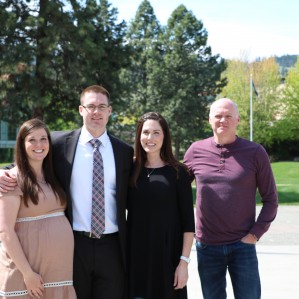 Wife Courtney (left) and Tanner, with parents Bonnie and Doug Sherwood.
