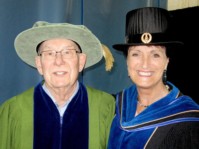 Donna Murnaghan, right, at Convocation with donor Ken Lepin.