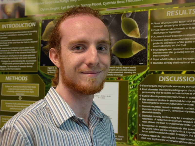 Biology student Dylan Ziegler was invited to showcase his research poster at the Canadian Botanical Association conference held at the University of Victoria.