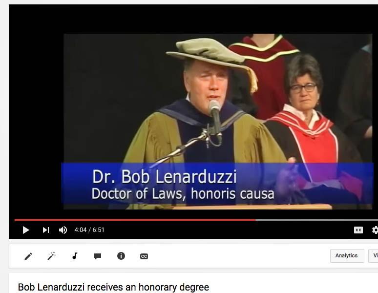 Bob Lenarduzzi addresses Convocation