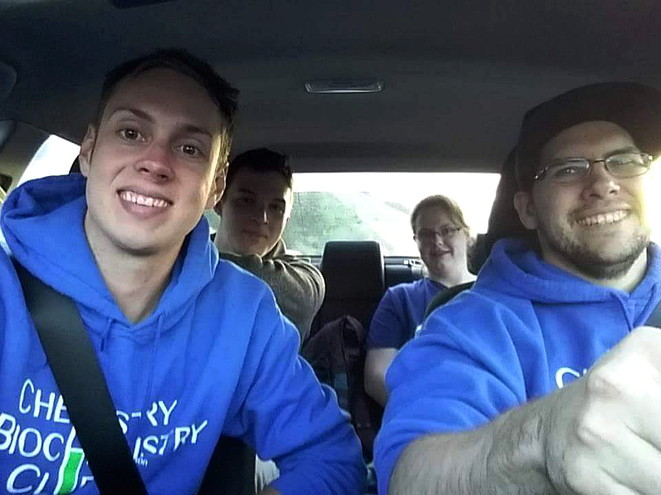 Matt Miller, front left, was joined by members of the TRU Chemistry Biochemistry Club, including Kile McKenna,  as they traveled to Portland in an electric vehicle to participate at a Green Chemistry conference.