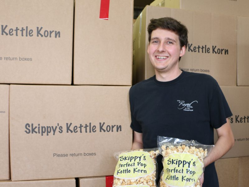 Cody Inskip at his popcorn headquarters on Laval Crescent in Kamloops, BC.