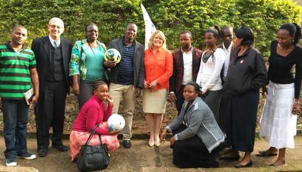 Waldemar Miszurka (second from left) and Kim Torreggiani (fifth from left) with staff and teachers at Rians Institute of Professional Studies in Usa River, Tanzania.