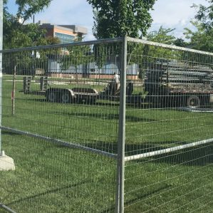 Construction is underway on the Campus Green in front of OM.
