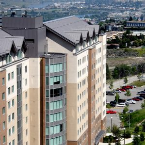 TRU Residence and Conference Centre with part of Kamloops in the background.
