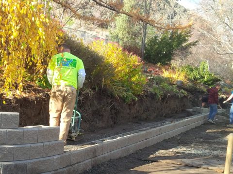 Retaining Wall Construction at TRU Horticulture Gardens