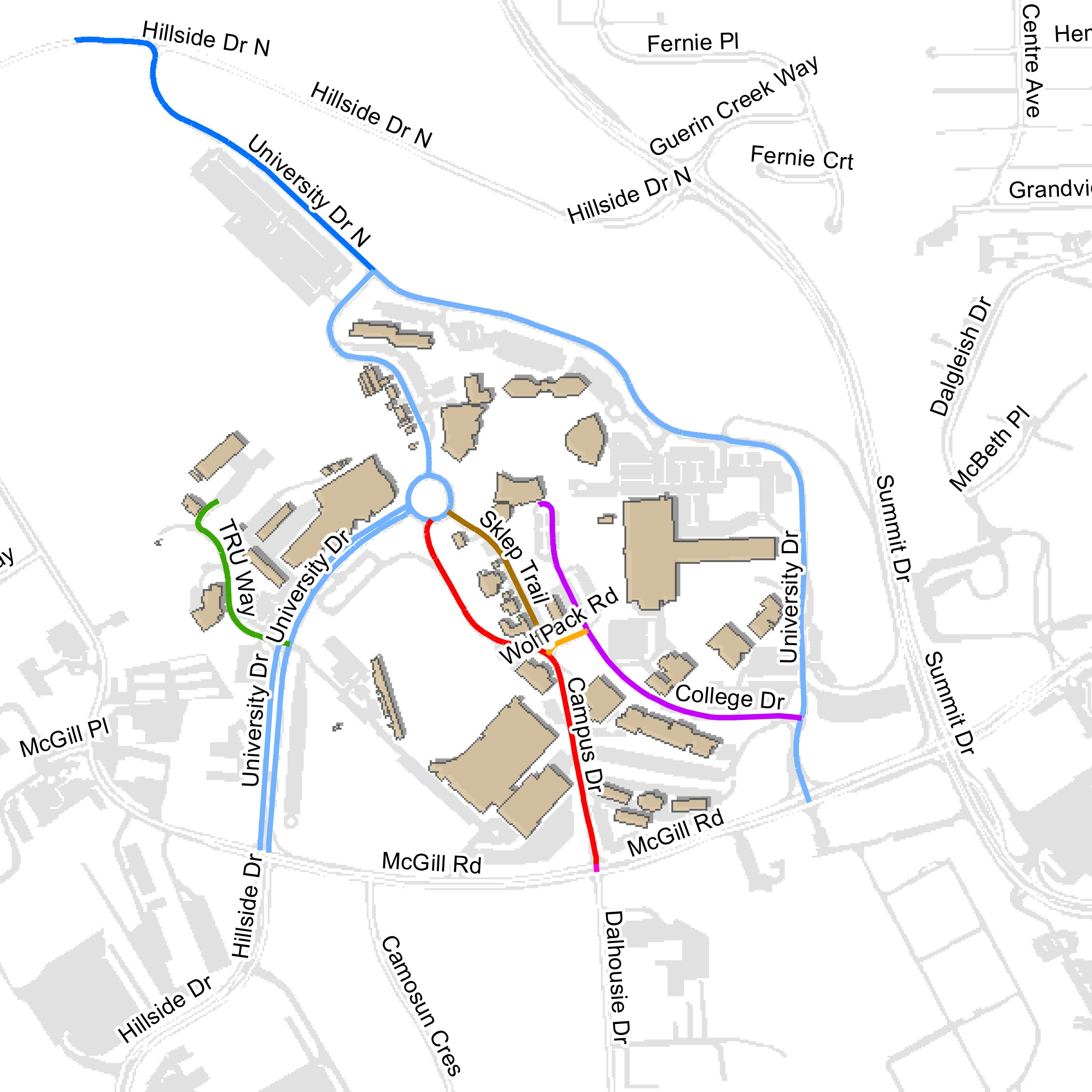 Campus map with new names Sept 22 2016