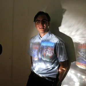 The Party Stack Projector is Glass' latest work which was recently shown during the Prairie Sun Camera Obscura Project.