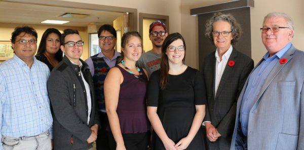 Pictured from left to right: SoBE faculty member Hafiz Rahman, Ch'nook Scholars: Rochelle DeLaRonde and Ryan Oliverius, Director of Aboriginal Education at TRU Paul Michel, Ch'nook Scholars: Christen Pretty, Ed Blakeborough, Sarah Melnyk, TRU President and Vice-Chancellor Alan Shaver and SoBE Dean Mike Henry