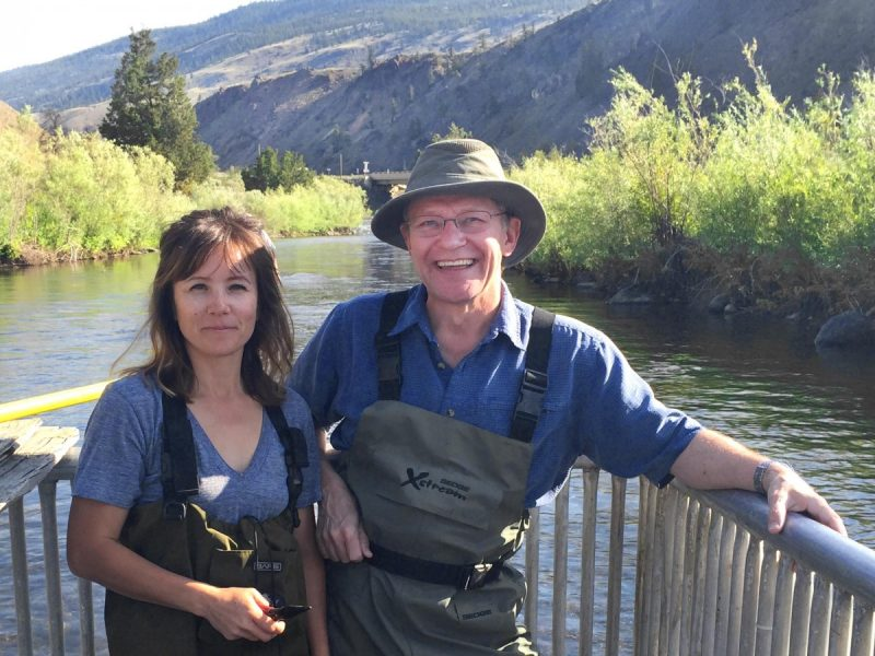 Michelle Walsh, left, and supervisor Brian Heise in a fish fence along a stretch of the Deadman River.