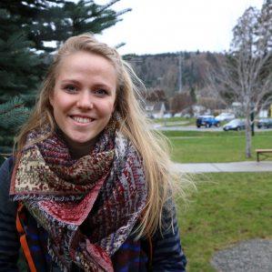 Katariina Määttä outside of Old Main on the TRU Campus