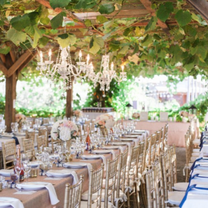 A glimpse inside of a Created Lovely Event wedding set-up.