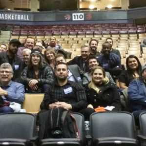 TRU Alumni after the Raptor's game having a meet and greet with Boston Celtic star Kelly Olynyk.