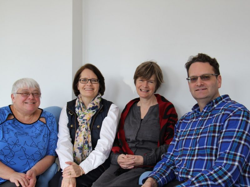 STEM team members sitting: Beverly Ruberg, Susan Lister, Carol Rees and Ted Howe