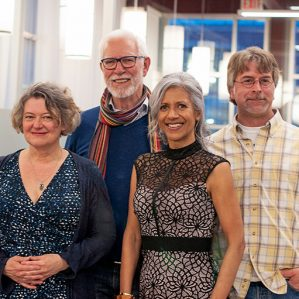 The 2017 Okanagan Short Story Contest winners, from left: Karen Hofmann, Michael Griffin, UBC Writer in Residence Renée Sarojini Saklikar and Cliff Hatcher. Source: UBCO