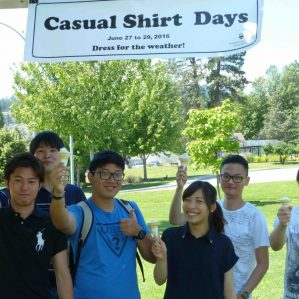 TRU Students staying cool with free ice cream at last year's Casual Shirt Days.