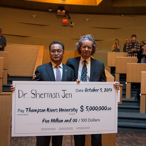 Dr. Sherman Jen with TRU President and Vice-Chancellor Alan Shaver