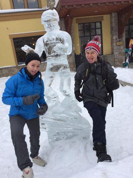 Tristan and his sister, Alyssa, celebrating Christmas at Sun Peaks last year.