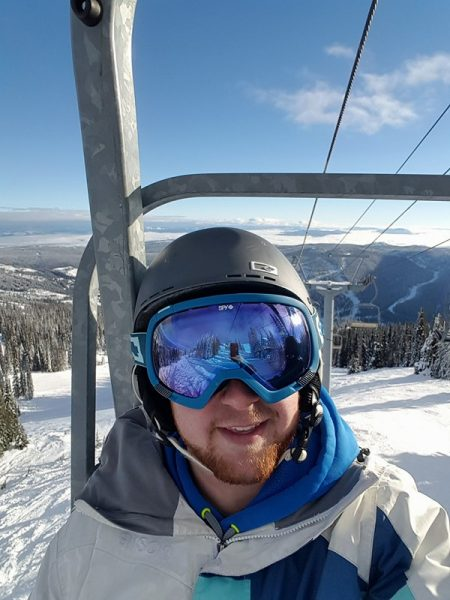 Jamie Shinkewski skiing at Sun Peaks.