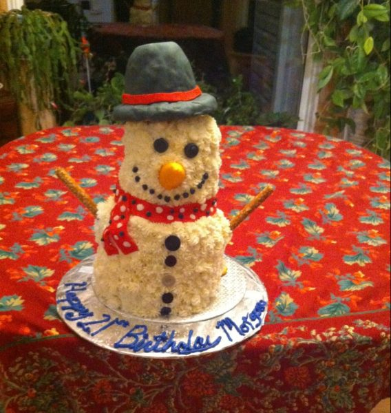 Fallon is a talented baker who loves creating cakes in unique shapes. This snowman cake was made for her sister Morgan's 21st birthday.