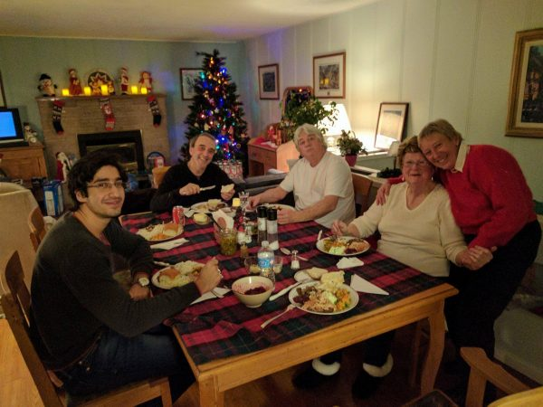 Michael's family at their Christmas dinner last year.