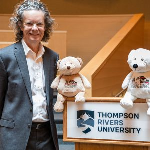 School of Nursing Adopted Bears with University President Alan Shaver