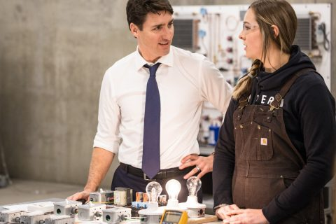 Prime Minister Justin Trudeau with TRU student