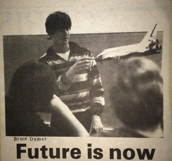 A 19-year-old Damer presenting his early ideas in Kamloops in the 1980s.