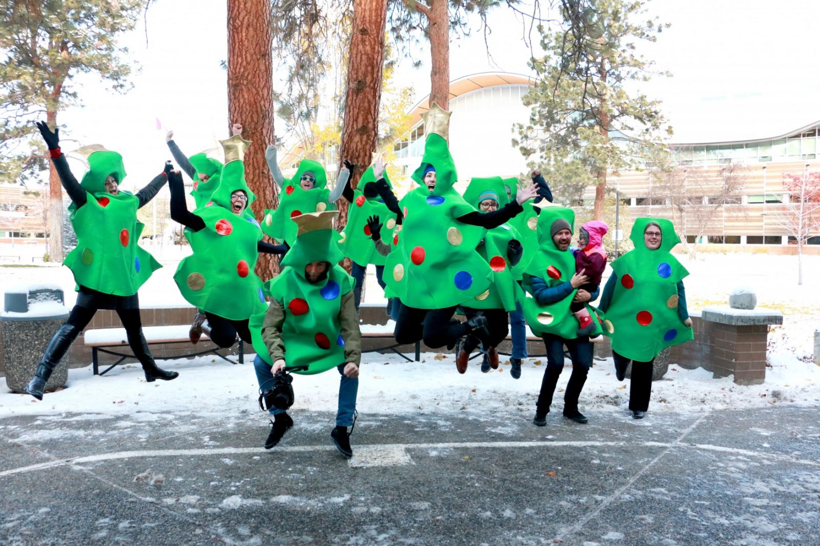 A picture with tree outfits