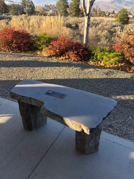 Gratitude bench at the Overlander Long Term Care facility.