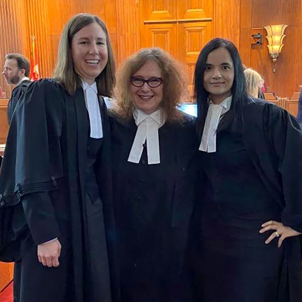 The legal team of Meaghan McMahon, Anita Szigeti and Ruby Dhand in the Supreme Court of Canada.