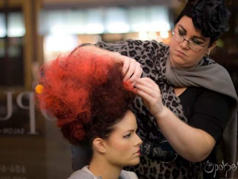 Nicole Stanchfield styling hair