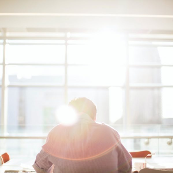 person working in sunlight