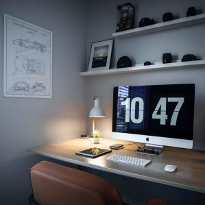 picture of desk with clock