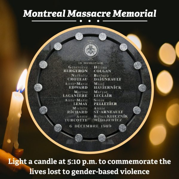 picture of memorial plaque with the names of the women that were murdered in the 1989 Montreal Massacre.