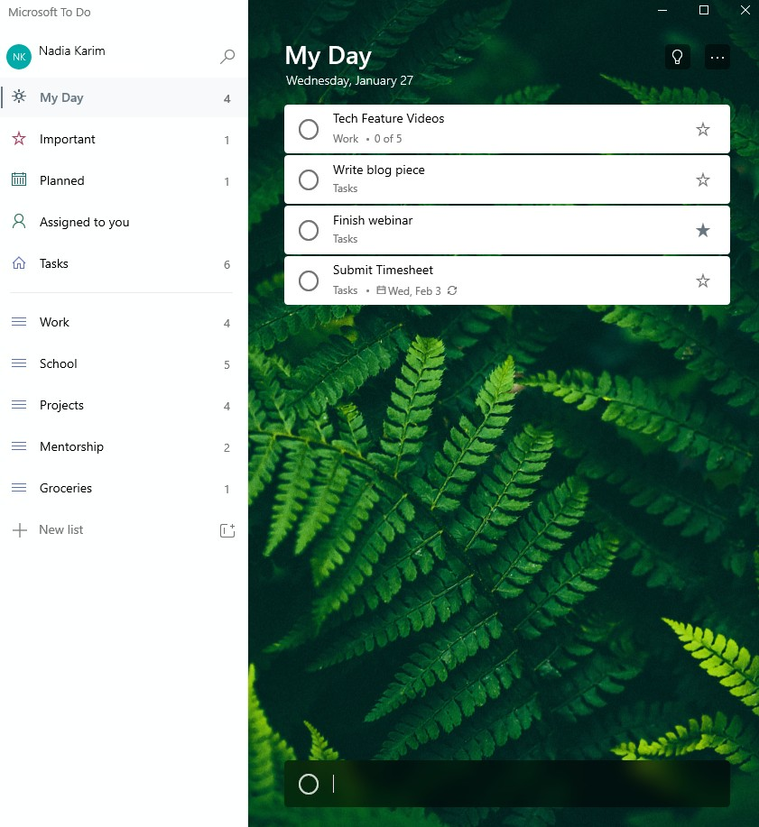 "Screenshot of ""My Day"" list within the Microsoft To Do app."