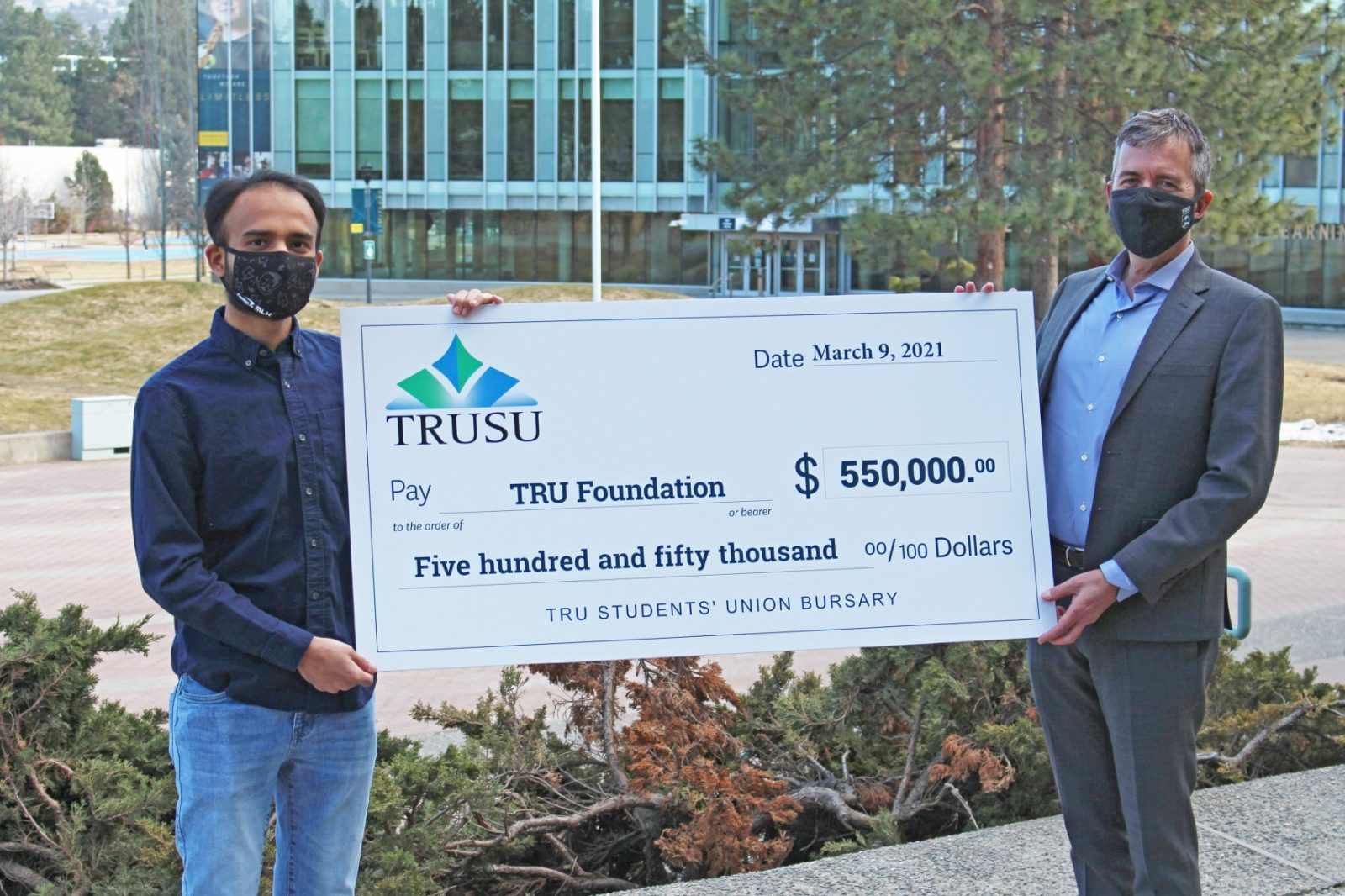 TRUSU Vice President Services Dipak Parmar and TRU Vice President University Relations Brian Daly.